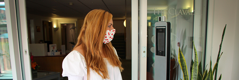 mask detection, wearing a mask, body temperature scan, temperature testing machine, device, high fever